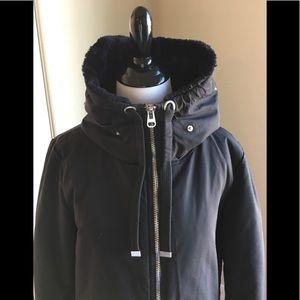 Zara Water Repellent 2way Black coat Small